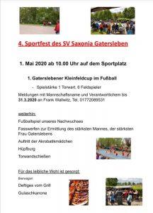 Gatersleben Saxonia Sportfest 2020 Flyer