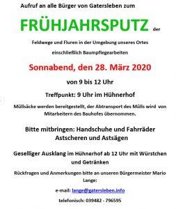 Gemeinde Gatersleben Frühjahrsputz 2020 Flyer