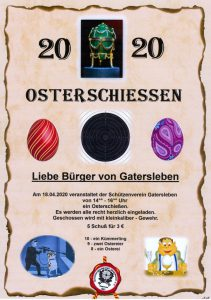 Schützengesellschaft Gatersleben Osterschiessen 2020 Flyer