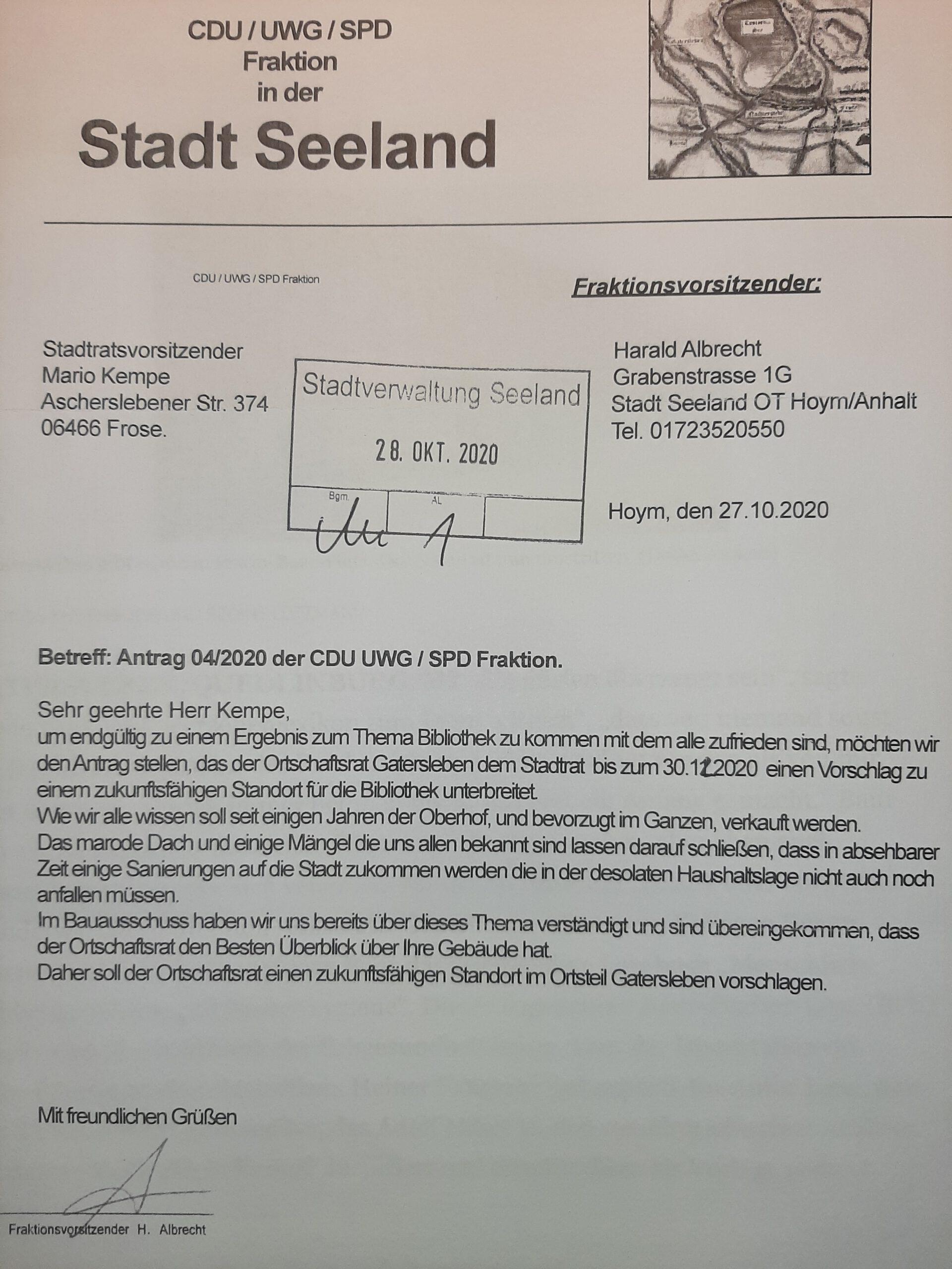 Harald Albrecht fordert in einem Antrag der CDU/UWG/SPD vom Gaterslebener Ortschaftsrat Konzepte zur Unterbringung der Stadt-Bibliothek